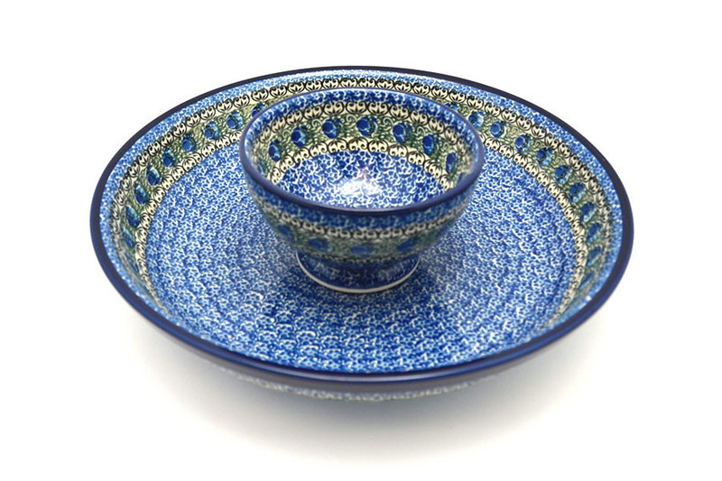 Ceramika Artystyczna Polish Pottery Chip & Dip Set - Peacock Feather S11-1513a (Ceramika Artystyczna)