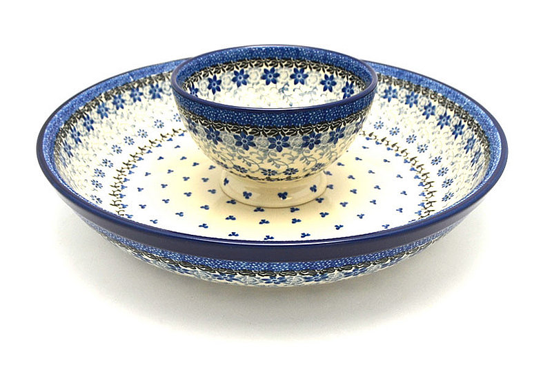 Ceramika Artystyczna Polish Pottery Chip & Dip Set - Silver Lace S11-2158a (Ceramika Artystyczna)