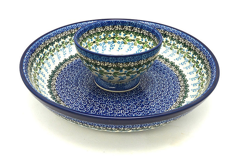 Ceramika Artystyczna Polish Pottery Chip & Dip Set - Wisteria S11-1473a (Ceramika Artystyczna)