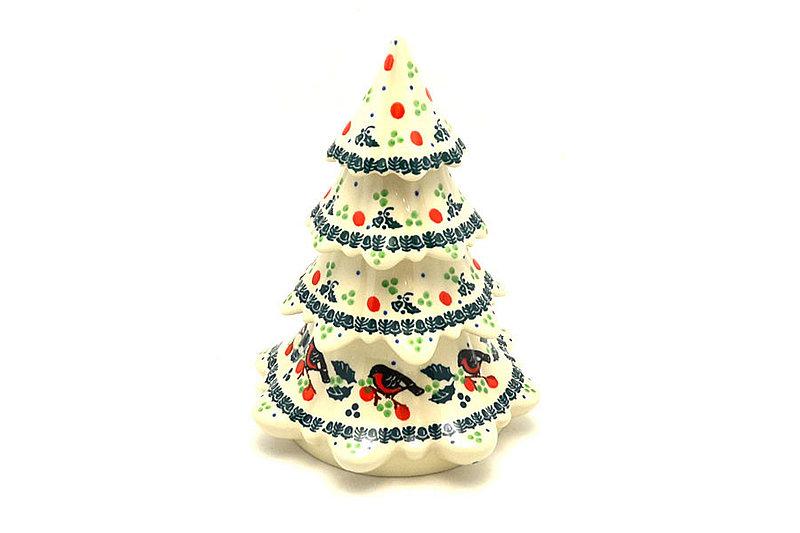 "Polish Pottery Christmas Tree - Large (7 1/2"") - Red Robin"