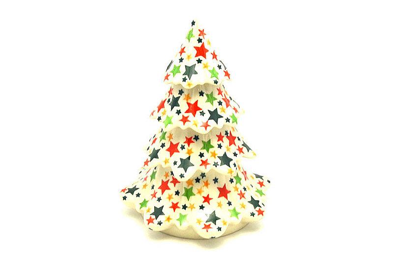 "Ceramika Artystyczna Polish Pottery Christmas Tree - Large (7 1/2"") - Star Studded A67-2258a (Ceramika Artystyczna)"