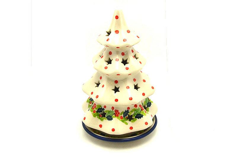 """Ceramika Artystyczna Polish Pottery Christmas Tree Luminary - Large (8"""") - Christmas Holly 602-2541a (Ceramika Artystyczna)"""