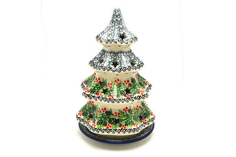 """Polish Pottery Christmas Tree Luminary - Large (8"""") - Holly Berry"""