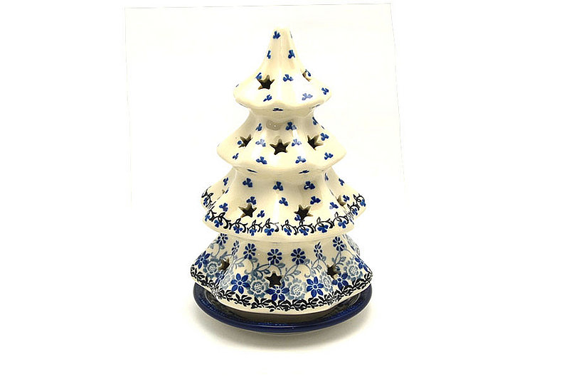 "Polish Pottery Christmas Tree Luminary - Large (8"") - Silver Lace"