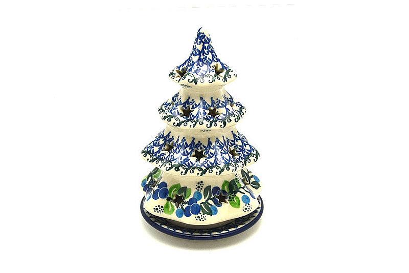 """Ceramika Artystyczna Polish Pottery Christmas Tree Luminary - Medium (7"""") - Blue Berries 513-1416a (Ceramika Artystyczna)"""