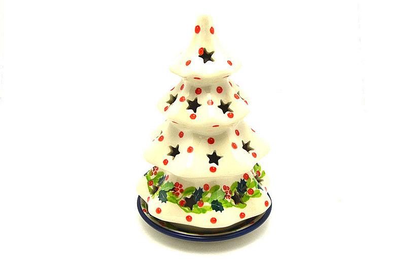 """Ceramika Artystyczna Polish Pottery Christmas Tree Luminary - Medium (7"""") - Christmas Holly 513-2541a (Ceramika Artystyczna)"""