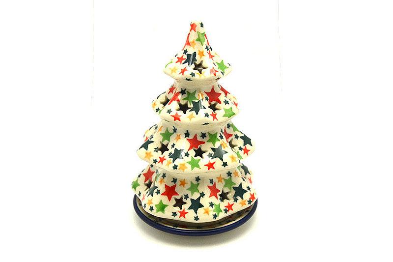 """Ceramika Artystyczna Polish Pottery Christmas Tree Luminary - Medium (7"""") - Christmas Stars 513-2258a (Ceramika Artystyczna)"""