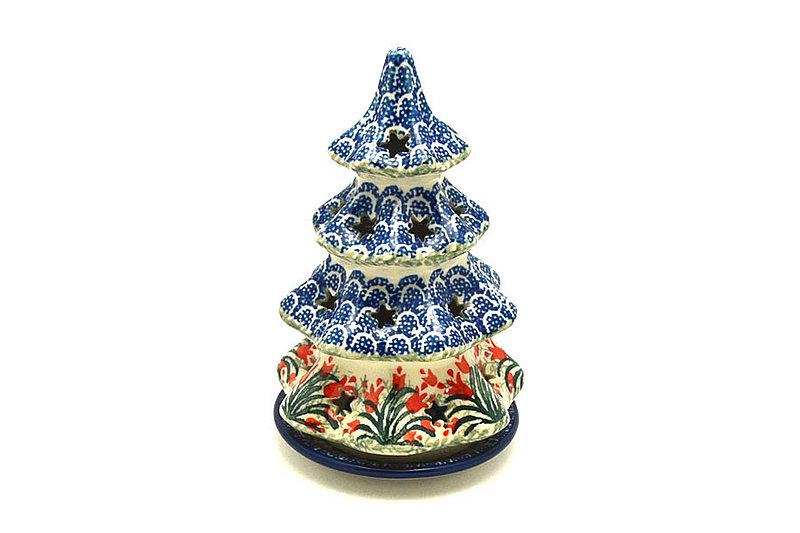 """Ceramika Artystyczna Polish Pottery Christmas Tree Luminary - Medium (7"""") - Crimson Bells 513-1437a (Ceramika Artystyczna)"""
