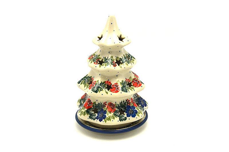 """Ceramika Artystyczna Polish Pottery Christmas Tree Luminary - Medium (7"""") - Garden Party 513-1535a (Ceramika Artystyczna)"""