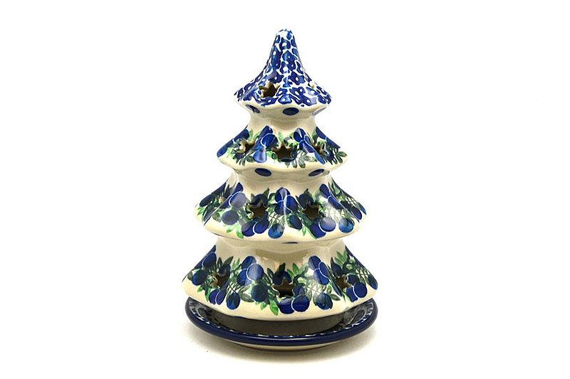 """Ceramika Artystyczna Polish Pottery Christmas Tree Luminary - Medium (7"""") - Huckleberry 513-1413a (Ceramika Artystyczna)"""
