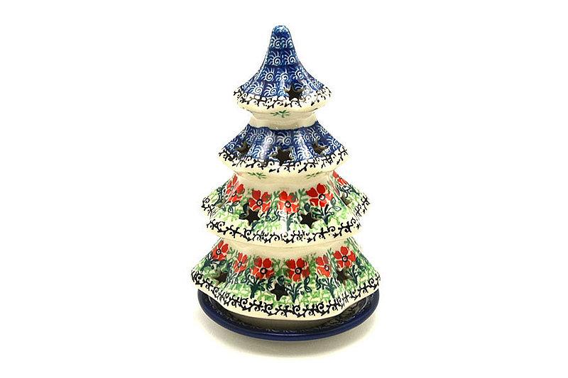 """Ceramika Artystyczna Polish Pottery Christmas Tree Luminary - Medium (7"""") - Maraschino 513-1916a (Ceramika Artystyczna)"""