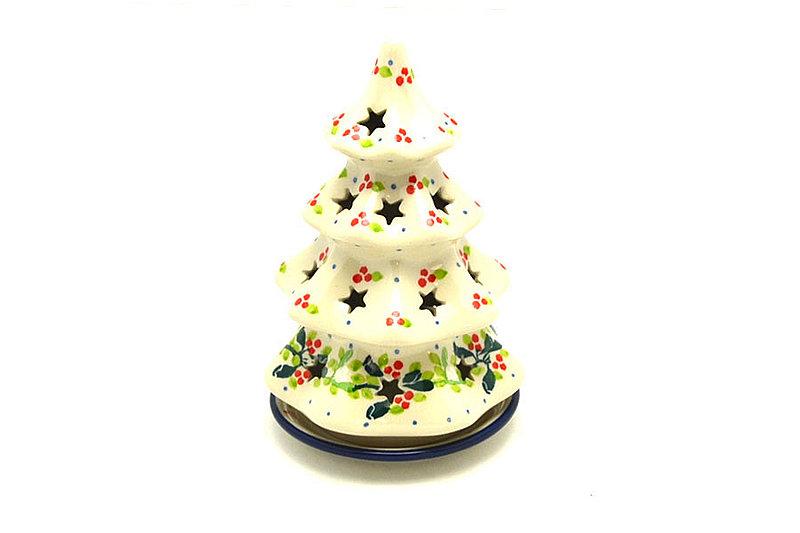 """Ceramika Artystyczna Polish Pottery Christmas Tree Luminary - Medium (7"""") - Mistletoe 513-2390a (Ceramika Artystyczna)"""