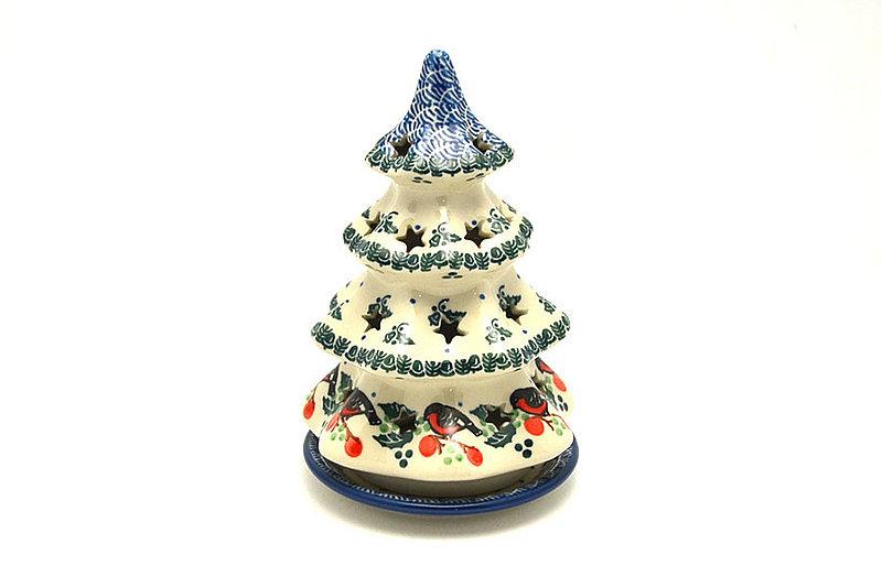 """Polish Pottery Christmas Tree Luminary - Medium (7"""") - Red Robin"""