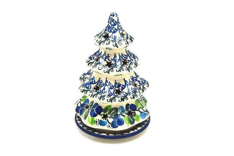 """Ceramika Artystyczna Polish Pottery Christmas Tree Luminary - Small (6"""") - Blue Berries 512-1416a (Ceramika Artystyczna)"""