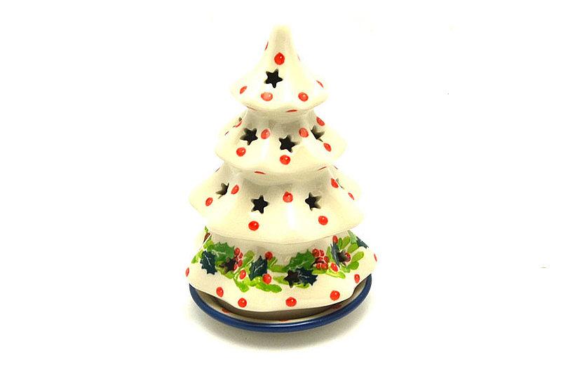 """Ceramika Artystyczna Polish Pottery Christmas Tree Luminary - Small (6"""") - Christmas Holly 512-2541a (Ceramika Artystyczna)"""