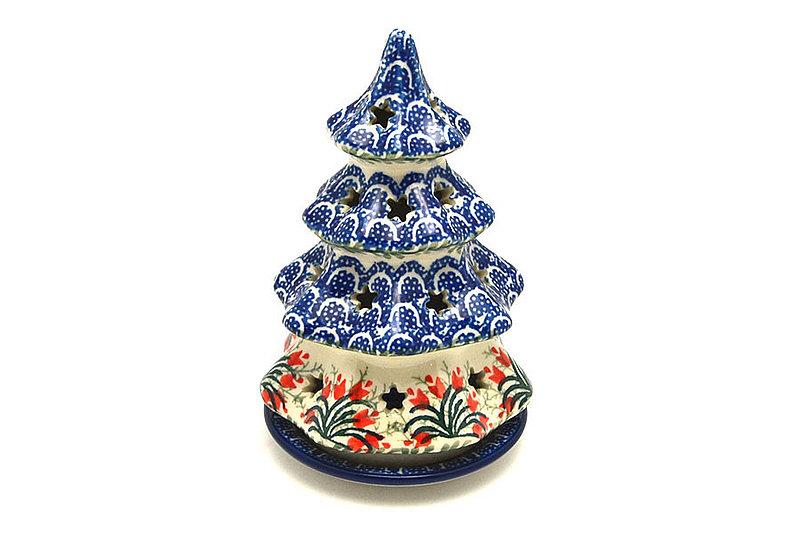 """Ceramika Artystyczna Polish Pottery Christmas Tree Luminary - Small (6"""") - Crimson Bells 512-1437a (Ceramika Artystyczna)"""
