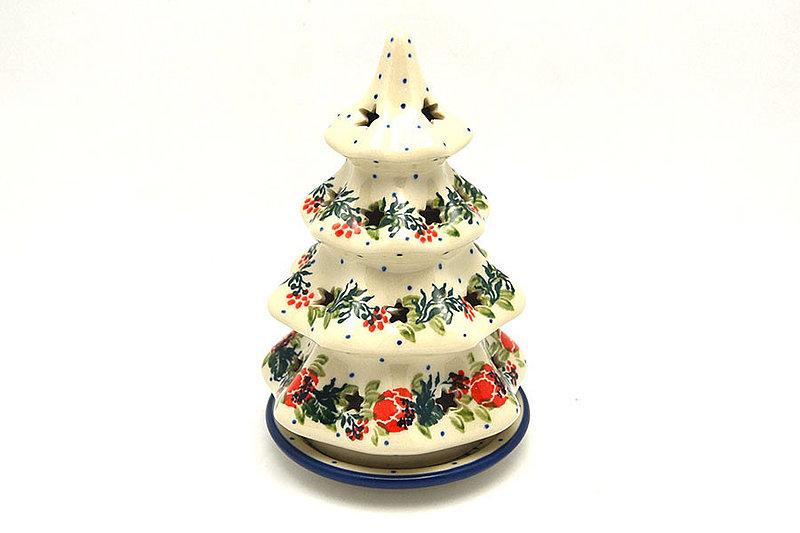 """Ceramika Artystyczna Polish Pottery Christmas Tree Luminary - Small (6"""") - Garden Party 512-1535a (Ceramika Artystyczna)"""