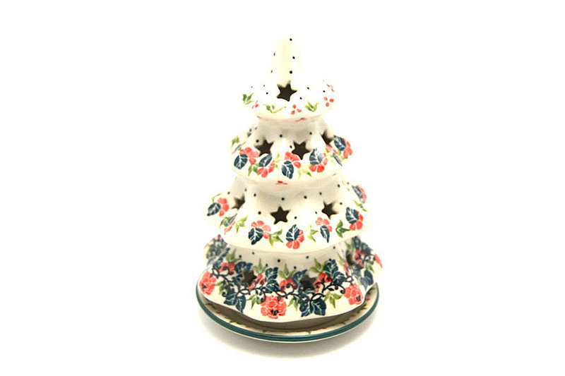 "Ceramika Artystyczna Polish Pottery Christmas Tree Luminarz - Medium (7"") - Christmas Pageant 513-1970q (Ceramika Artystyczna)"