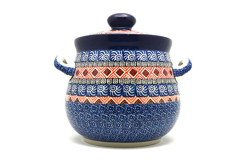 Ceramika Artystyczna Polish Pottery Cookie Jar - 7 cups- Aztec Sun 172-1350a (Ceramika Artystyczna)
