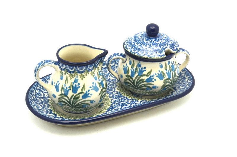 Ceramika Artystyczna Polish Pottery Cream & Sugar Set - Blue Bells 422-1432a (Ceramika Artystyczna)