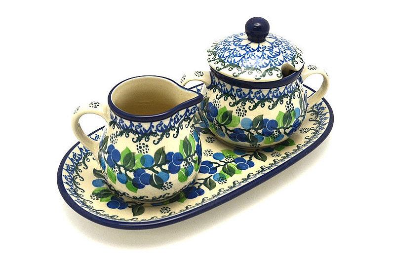 Ceramika Artystyczna Polish Pottery Cream & Sugar Set - Blue Berries 422-1416a (Ceramika Artystyczna)