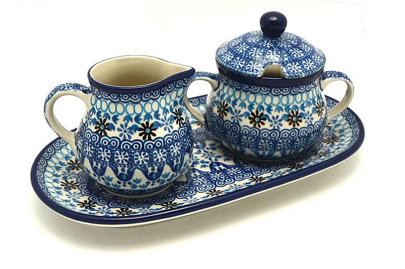 Ceramika Artystyczna Polish Pottery Cream & Sugar Set - Blue Yonder 422-2187a (Ceramika Artystyczna)