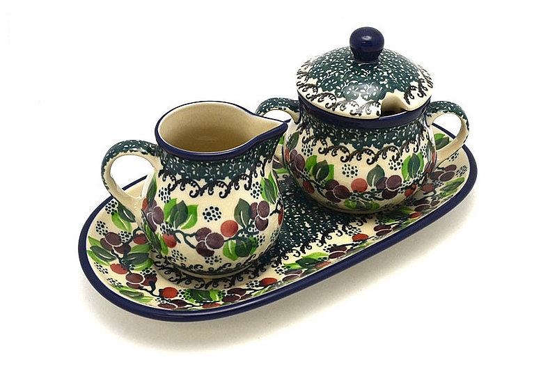 Ceramika Artystyczna Polish Pottery Cream & Sugar Set - Burgundy Berry Green 422-1415a (Ceramika Artystyczna)