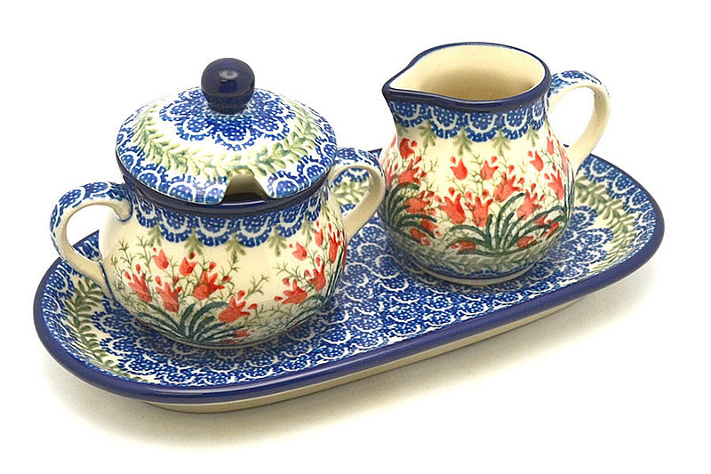 Polish Pottery Cream & Sugar Set - Crimson Bells