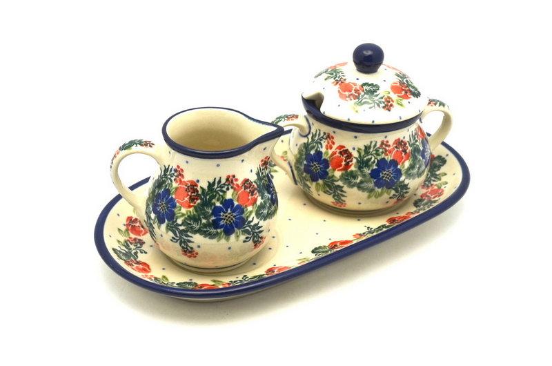 Ceramika Artystyczna Polish Pottery Cream & Sugar Set - Garden Party 422-1535a (Ceramika Artystyczna)