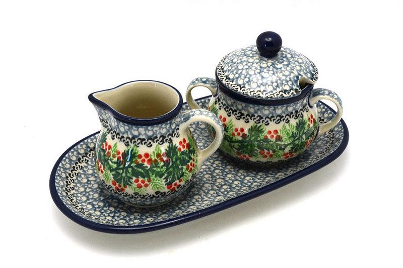 Ceramika Artystyczna Polish Pottery Cream & Sugar Set - Holly Berry 422-1734a (Ceramika Artystyczna)