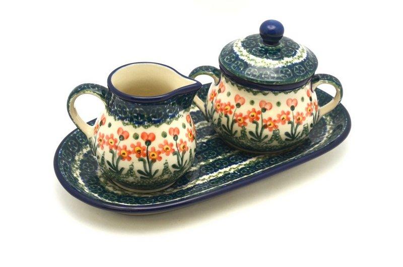 Ceramika Artystyczna Polish Pottery Cream & Sugar Set - Peach Spring Daisy 422-560a (Ceramika Artystyczna)