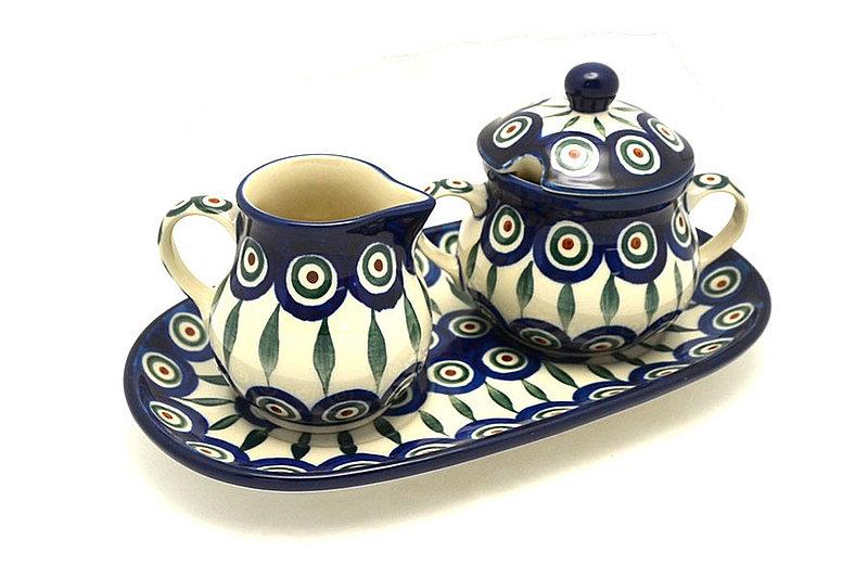 Ceramika Artystyczna Polish Pottery Cream & Sugar Set - Peacock 422-054a (Ceramika Artystyczna)