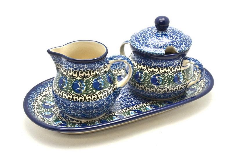 Ceramika Artystyczna Polish Pottery Cream & Sugar Set - Peacock Feather 422-1513a (Ceramika Artystyczna)