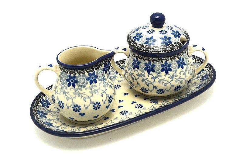 Ceramika Artystyczna Polish Pottery Cream & Sugar Set - Silver Lace 422-2158a (Ceramika Artystyczna)