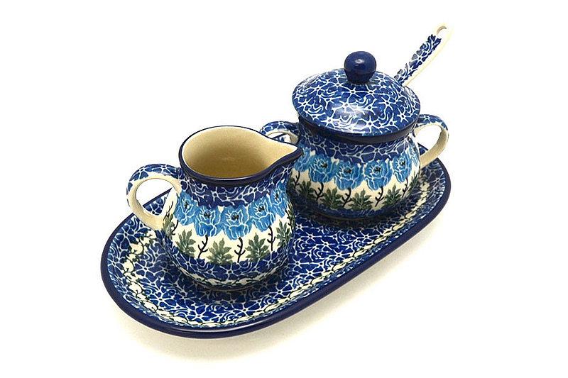 Ceramika Artystyczna Polish Pottery Cream & Sugar Set with Sugar Spoon - Antique Rose S42-1390a (Ceramika Artystyczna)