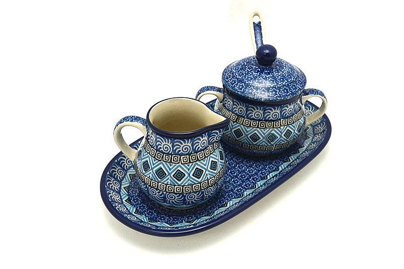 Ceramika Artystyczna Polish Pottery Cream & Sugar Set with Sugar Spoon - Aztec Sky S42-1917a (Ceramika Artystyczna)