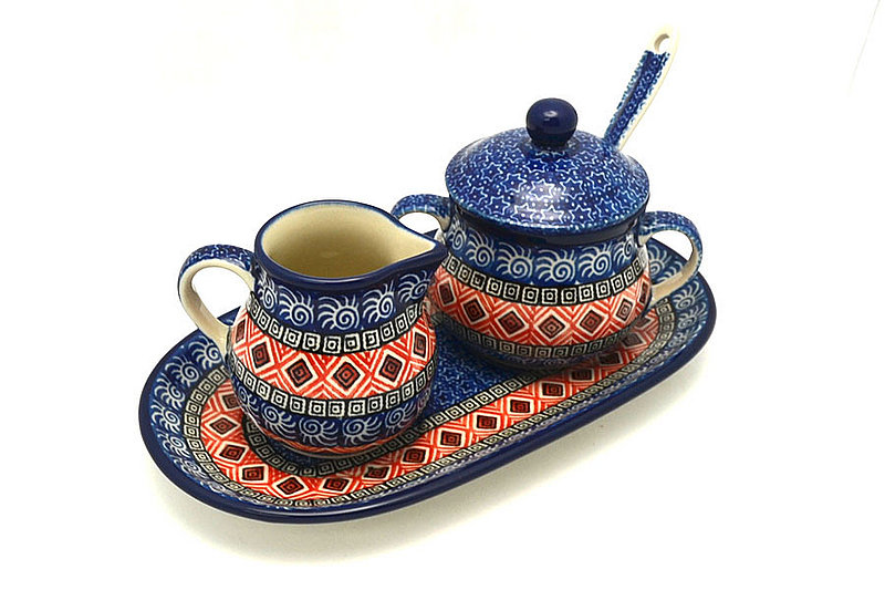 Ceramika Artystyczna Polish Pottery Cream & Sugar Set with Sugar Spoon - Aztec Sun S42-1350a (Ceramika Artystyczna)