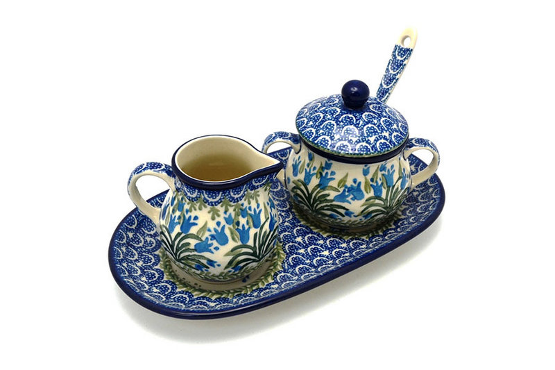 Ceramika Artystyczna Polish Pottery Cream & Sugar Set with Sugar Spoon - Blue Bells S42-1432a (Ceramika Artystyczna)