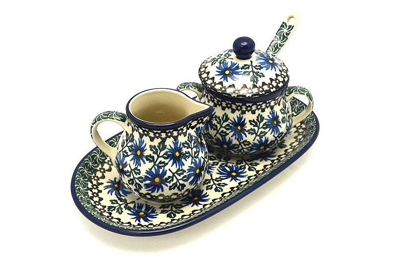Ceramika Artystyczna Polish Pottery Cream & Sugar Set with Sugar Spoon - Blue Chicory S42-976a (Ceramika Artystyczna)