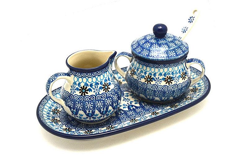 Ceramika Artystyczna Polish Pottery Cream & Sugar Set with Sugar Spoon - Blue Yonder S42-2187a (Ceramika Artystyczna)
