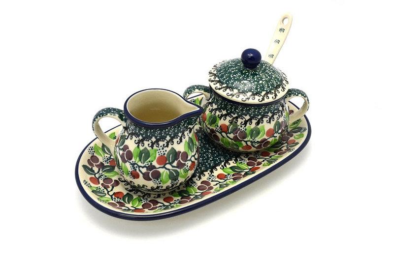 Ceramika Artystyczna Polish Pottery Cream & Sugar Set with Sugar Spoon - Burgundy Berry Green S42-1415a (Ceramika Artystyczna)
