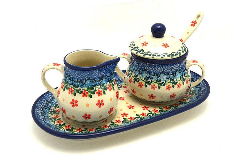 Ceramika Artystyczna Polish Pottery Cream & Sugar Set with Sugar Spoon - Cherry Jubilee S42-2284a (Ceramika Artystyczna)