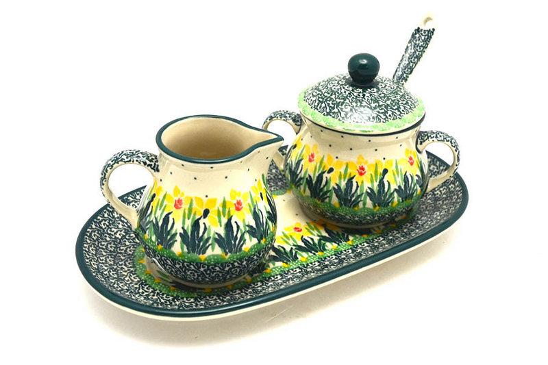 Ceramika Artystyczna Polish Pottery Cream & Sugar Set with Sugar Spoon - Daffodil S42-2122q (Ceramika Artystyczna)