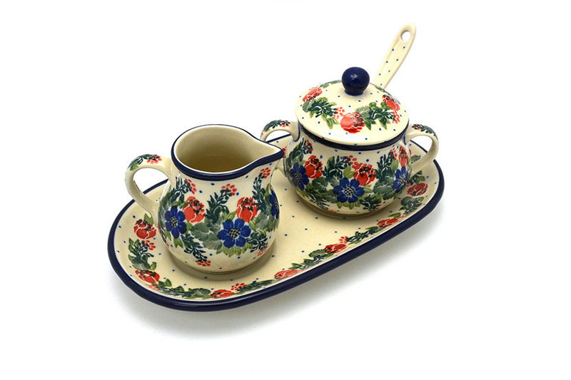 Polish Pottery Cream & Sugar Set with Sugar Spoon - Garden Party