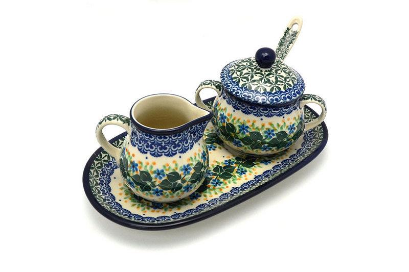 Polish Pottery Cream & Sugar Set with Sugar Spoon - Ivy Trail