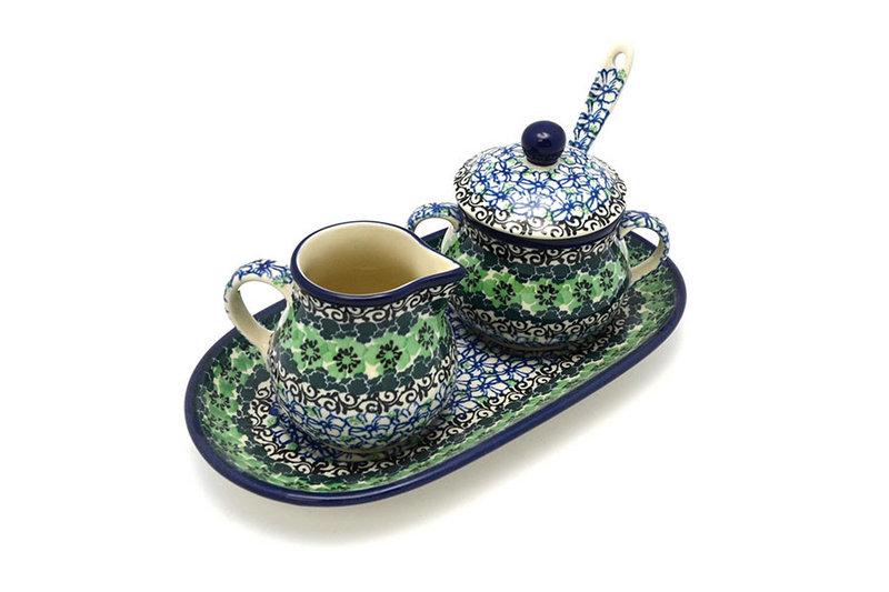 Polish Pottery Cream & Sugar Set with Sugar Spoon - Kiwi