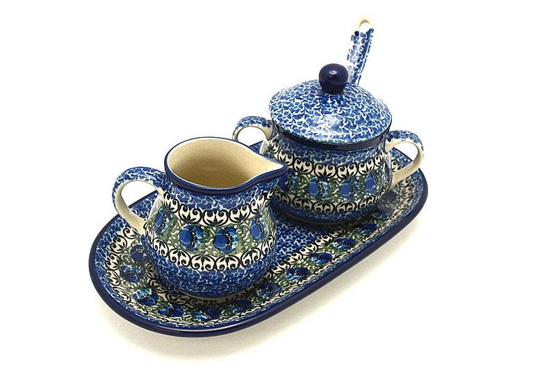 Ceramika Artystyczna Polish Pottery Cream & Sugar Set with Sugar Spoon - Peacock Feather S42-1513a (Ceramika Artystyczna)