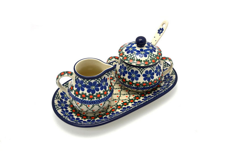 Ceramika Artystyczna Polish Pottery Cream & Sugar Set with Sugar Spoon - Primrose S42-854a (Ceramika Artystyczna)