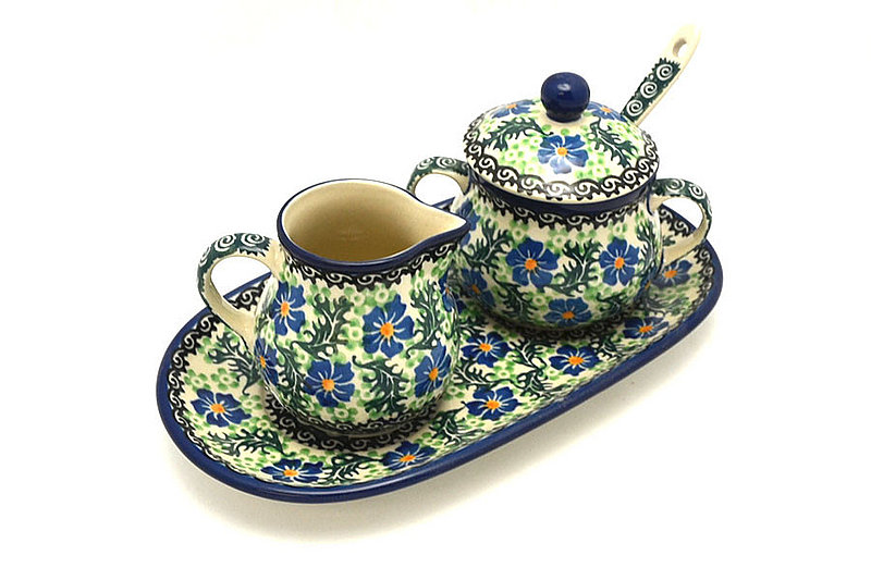 Ceramika Artystyczna Polish Pottery Cream & Sugar Set with Sugar Spoon - Sweet Violet S42-1538a (Ceramika Artystyczna)