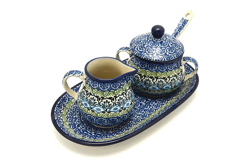 Polish Pottery Cream & Sugar Set with Sugar Spoon - Tranquility